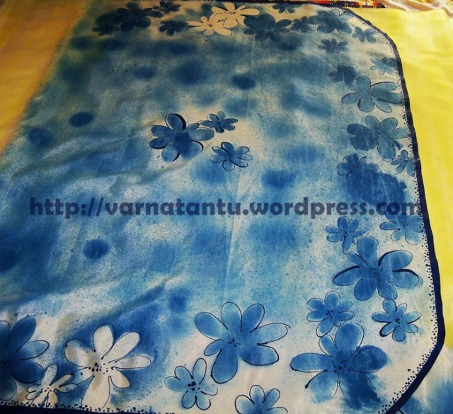 Pallu of Hand Painted Sari
