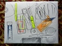 Basic sewing kit with a corrugated box cover is with sewing tools drawn and coloured on the top.