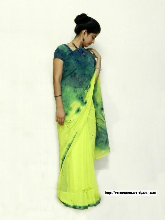 Sari Designed Using Thread Painting Technique & Spray painting Technique e