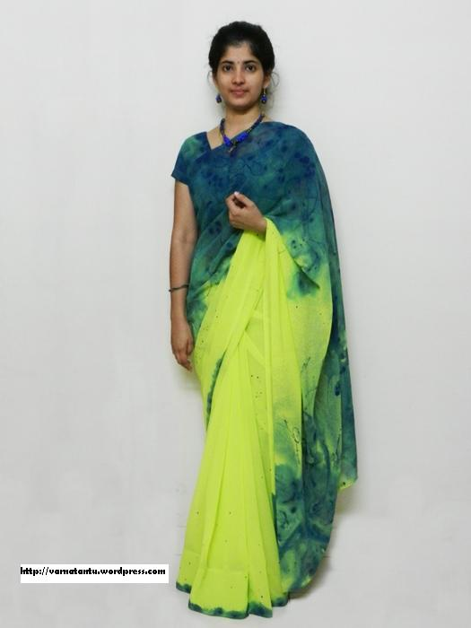 Thread Painted & Spray Painted Sari - Another View e