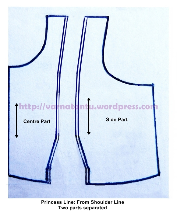 Pattern - Princess Line From Shoulder - After Cutting