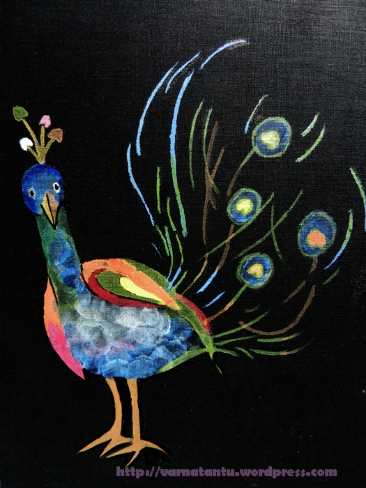 Dancing Peacock - A Fabric Painting