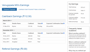 Venu's cashback Earnings @ Cashkaro.com