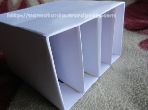 Innerwear or Hanky Organiser kept upright with vertical compartments