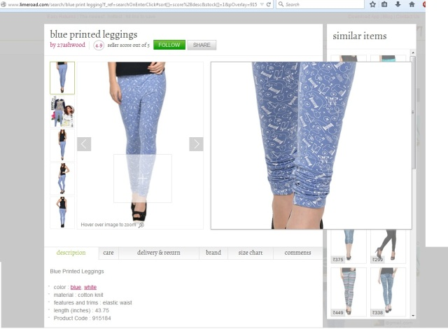 Ash Blue Printed Leggings @ LimeRoad