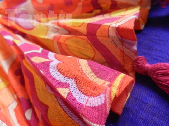 Plush Orange Printed Dupatta - Close Up